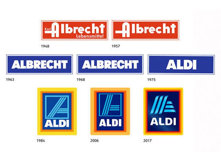 Alle Aldi-Logos seit 1948