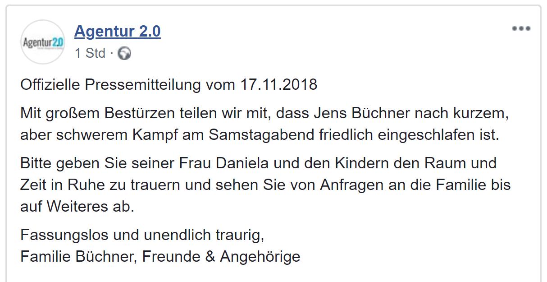 Jens Büchner tot Agentur 2.0 Bestätigt Tot von Jens Büchner Facebook
