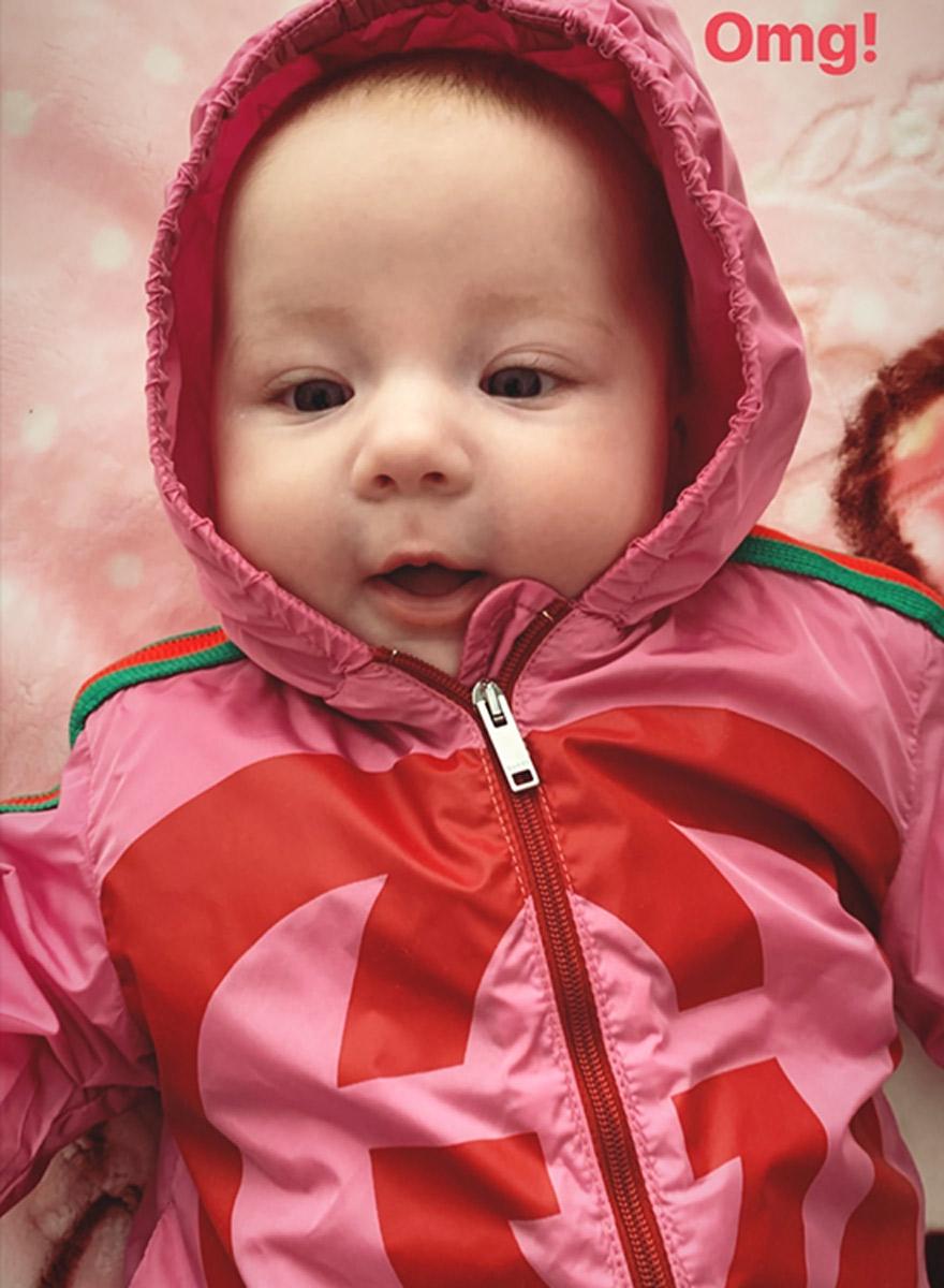 Gucci Gucci: Hana in ihrer 520-Dollar-Baby-Jacke.