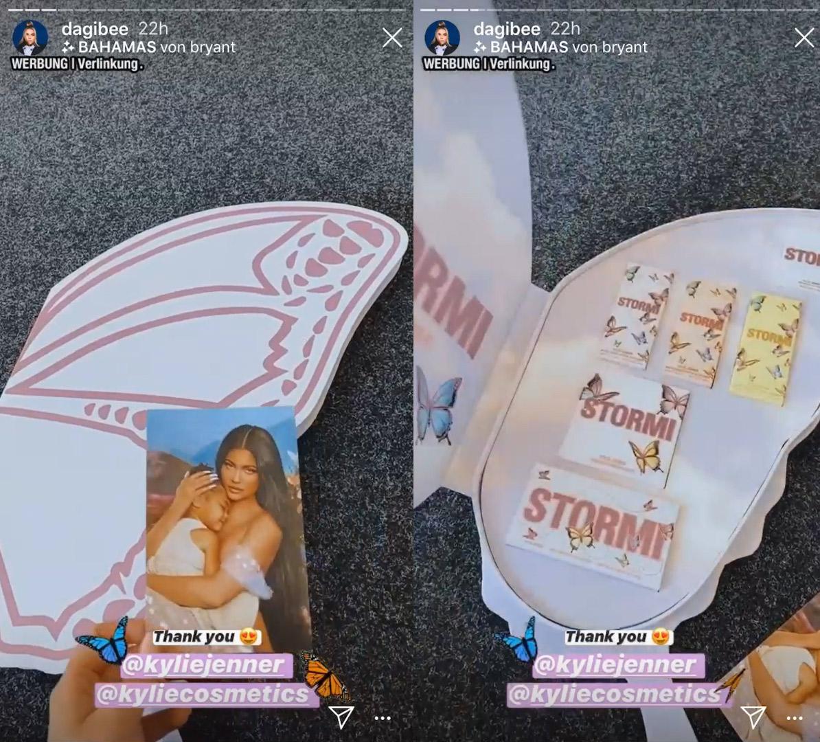 Dagi Bee mit dem Kylie Cosmetics-Paket von Jenner